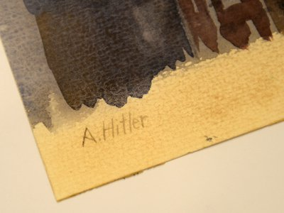 Adolf Hitler's signature pictured on June 11, 2015 in the Weidler auction house in Nuremberg, southern Germany.