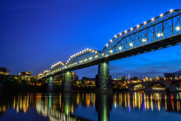 Blue Hour dazzles Chattanooga Bridge!!  thumbnail