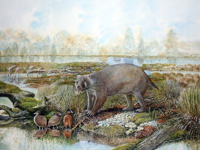 A painting that imagines what a living Mukupirna nambensis and its surrounding environment would have looked like some 25 million years ago near Lake Pinpa, Australia.