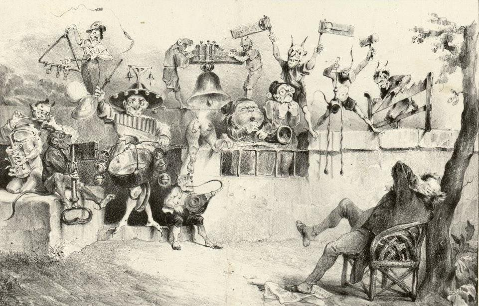 A lithograph by French caricaturist J. J. Grandville depicts the torture of too much noise.