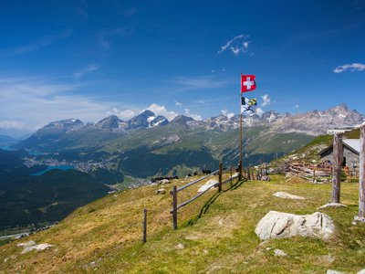 Switzerland's Engadine Valley seen from the slopes of Muottas Muragl in the resort town of St. Moritz