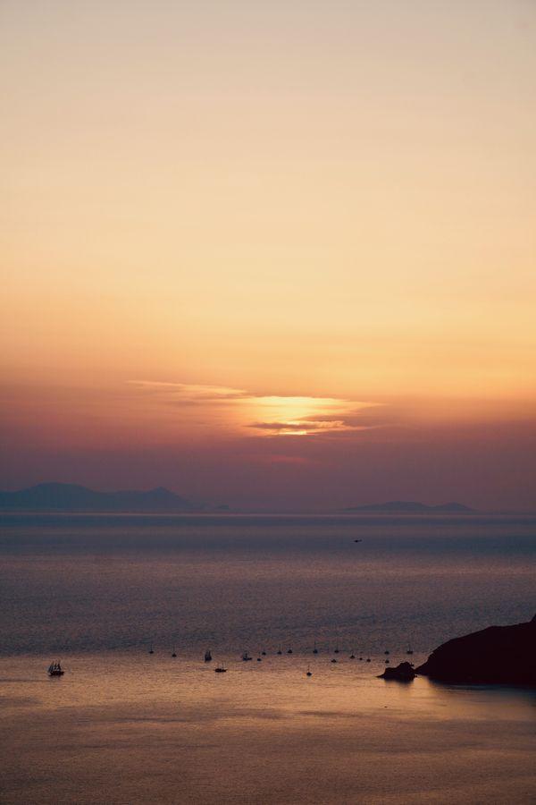 Sunset Over the Caldera in Santorini thumbnail