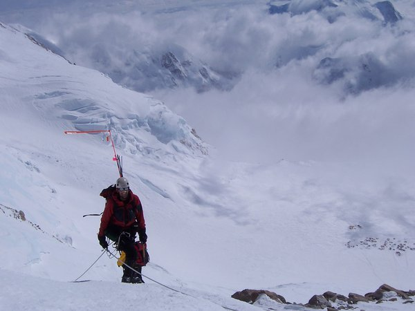 A Climber reaching the top of the West Buttress on Mt. McKinley thumbnail