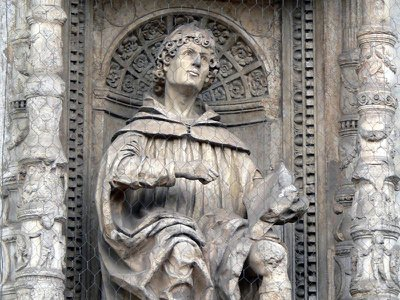 A statue of Pliny the Elder at the Cathedral of Santa Maria Maggiore in Como, Italy