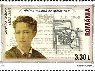 A 2013 Romanian stamp features Cochran and her dishwasher.