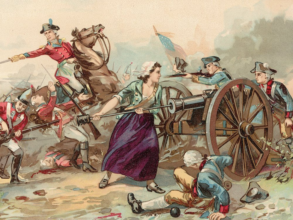 Illustration of Mary Ludwig Hays McCauley, the likely inspiration for Molly Pitcher, stoking a cannon for the U.S. Pennsylvania artillery during the Battle of Monmouth