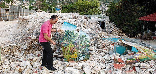 Haitian art in earthquake rubble
