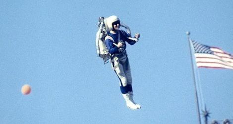 Jetpack pilot at Super Bowl I in 1967