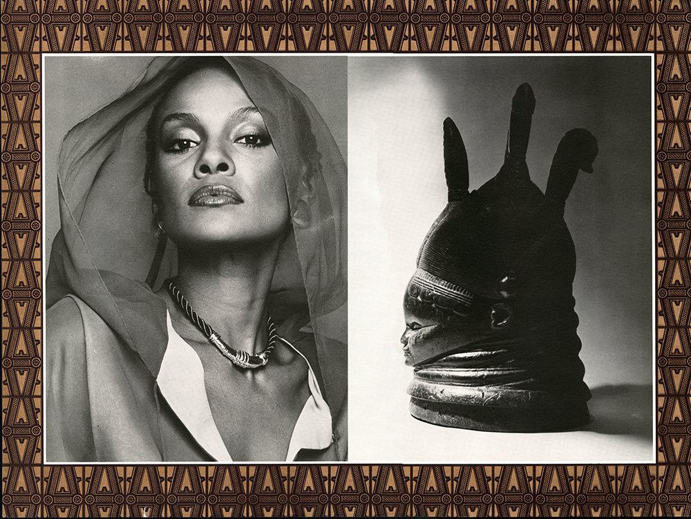 Page from the Polished Ambers advertising book showing a photograph of a model next to an image of an African sculpture.