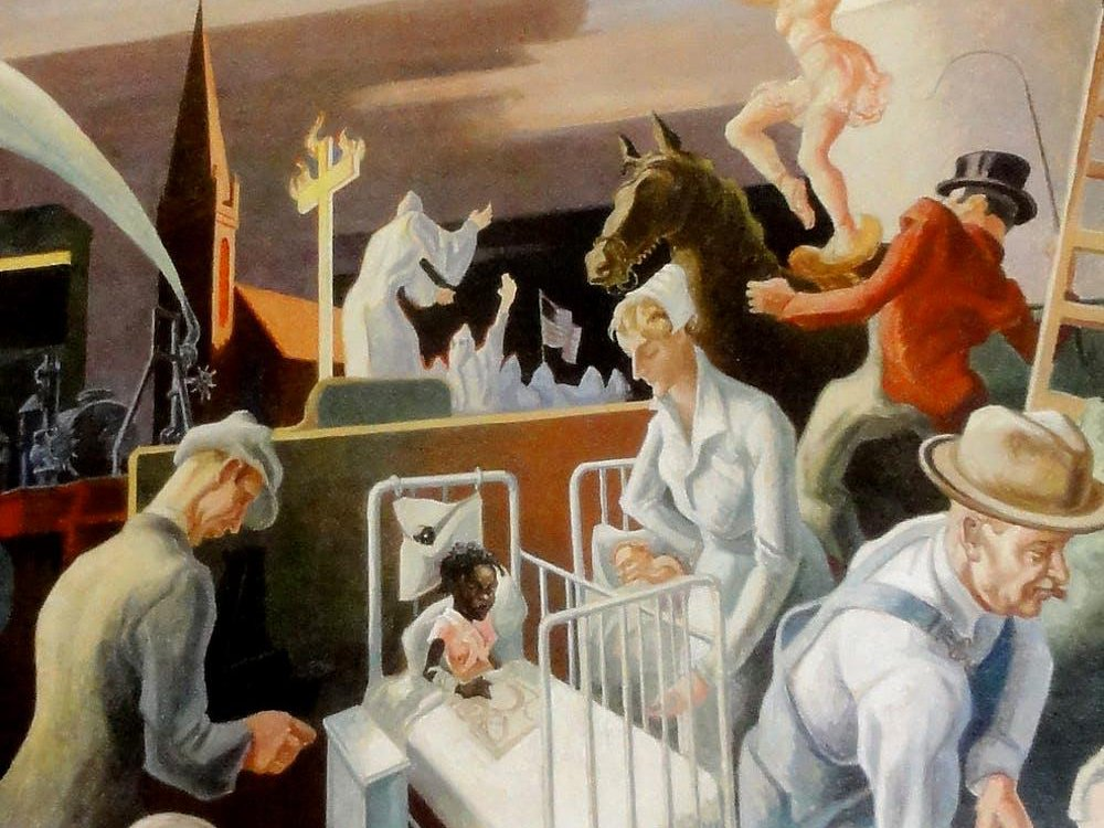 A detail from the controversial panel of Benton's mural