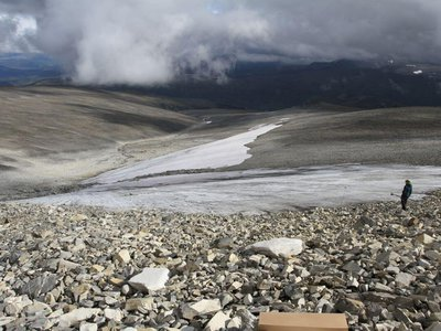 The Langfonne ice patch has shrunk dramatically over the past 20 years.