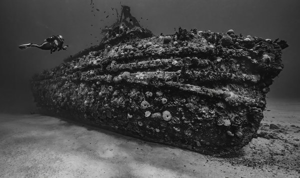A diver explores the wreck of the Northwind tug boat in St. Croix, USVI. thumbnail