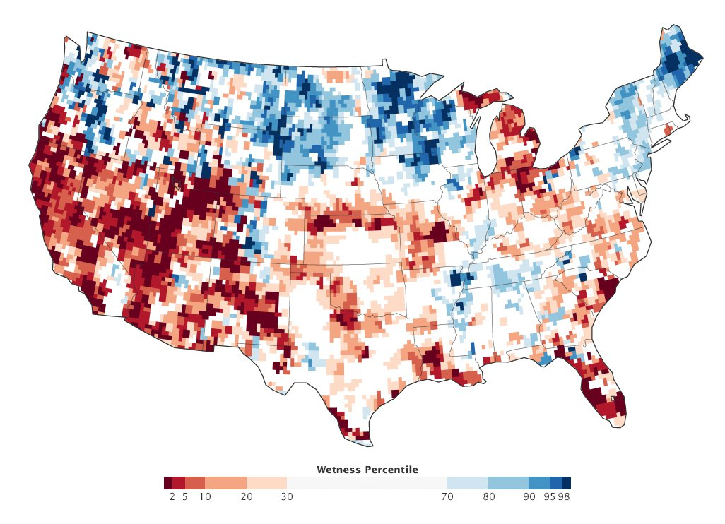 """The percent change that groundwater has been lower than it is right now at any point since 1948. Photo: <a href=""""http://earthobservatory.nasa.gov/IOTD/view.php?id=84065&eocn=home&eoci=iotd_title"""">NASA Earth Observatory / GRACE</a>"""