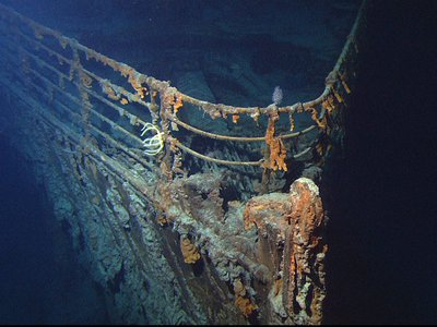 View of the bow of the R.M.S. Titanic, as photographed by an ROV in June 2004
