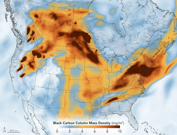 A map showing how particulates from wildfires in Canada and the Western U.S. has spread to the East Coast