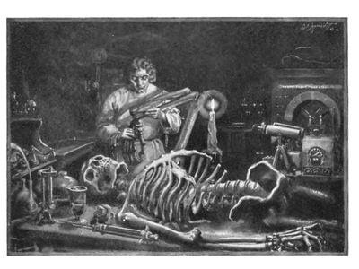Dr. Frankenstein at work in his laboratory