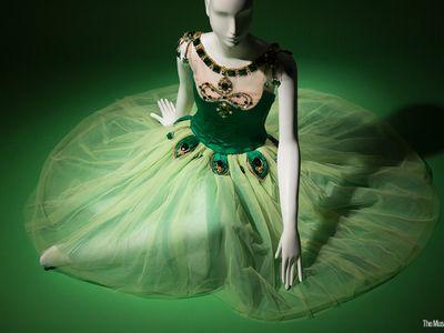 "Barbara Karinska, ""Emeralds"" costume from Jewels, original designed in 1967. Lent by the New York City Ballet"