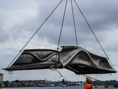 Four robots printed the steel structure in just six months.