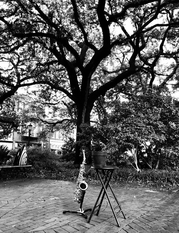 A saxophone displayed in Savannah, Georgia. thumbnail