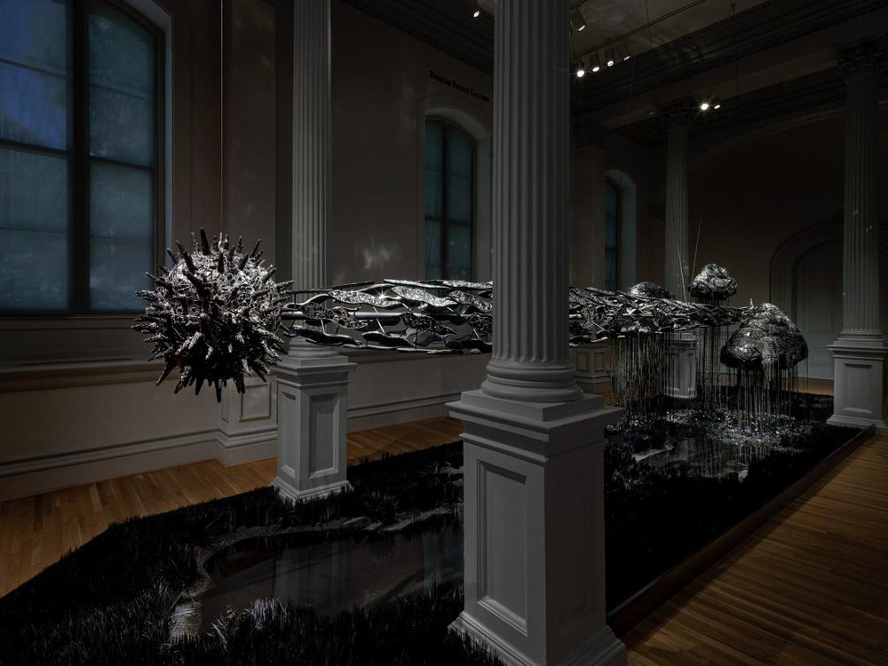 Lauren Fensterstock, The totality of time lusters the dusk, 2020, glass, Swarovski crystal, quartz, obsidian, onyx, hematite, paper, Plexiglas, wood, cement, lath, and mixed media, dimensions variable, (Courtesy Claire Oliver Gallery. Photo by Ron Blunt)