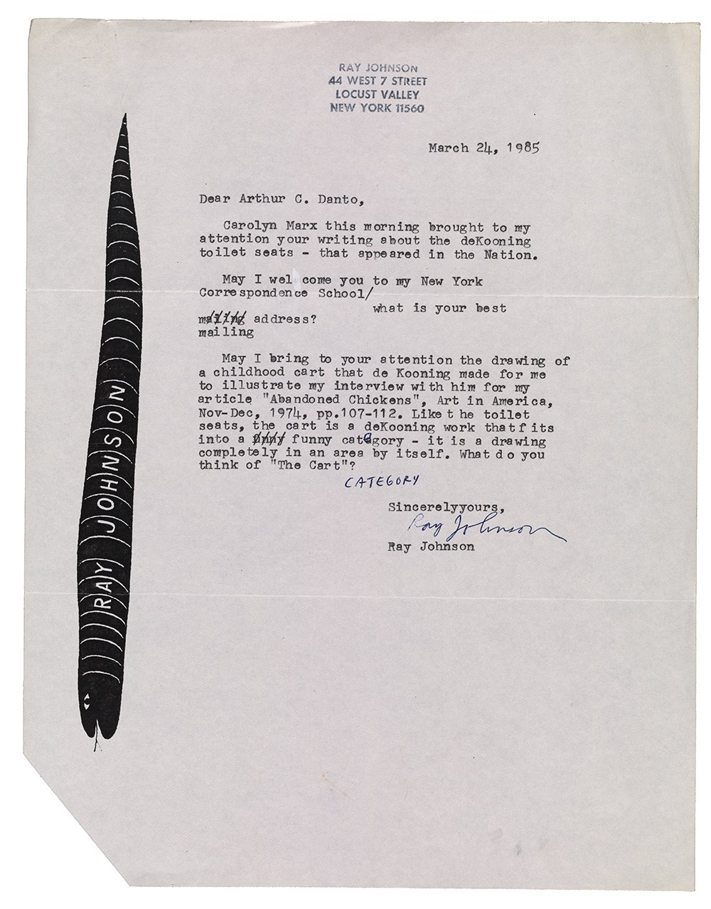 Letter sent to Arthur C. Danto by Ray Johnson