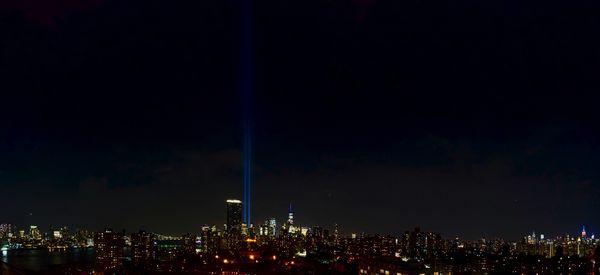 9/11 Tribute Lights Shining High Above Manhattan thumbnail