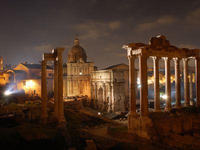 The Roman Forum at night.