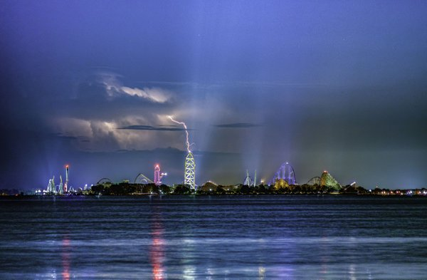 Lightning Storm Hovering Over Cedar Point Amusement Park In Sandusky Ohio 8-08-2018 thumbnail