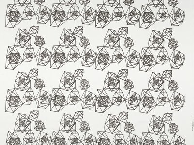 """Wyss Institute engineers selected works from the collections to illustrate a """"new approach to Design Science."""" The clusters of polyhedrons in the 1954 textile Time Capsule reflects the 1950s sentiment for a brighter future built on scientific progress."""