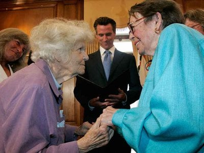 Del Martin, left, and Phyllis Lyon were officially wed June 16, 2008 in the first same-sex wedding to take place in San Francisco after legalization.