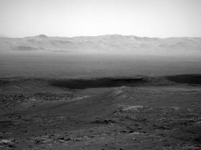 A view of Gale Crater, where the Curiosity rover is currently conducting research.