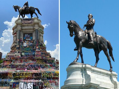 This summer, activists in Richmond transformed a monument to Robert E. Lee (right) into a work of protest art (left).