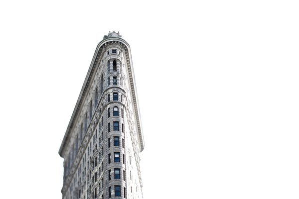 Flatiron Building in New York City, overexposed to blow the sky, and tilt shift lens. thumbnail