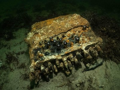 A team of divers found this rusted—but still recognizable—Enigma cipher machine at the bottom of the Baltic Sea. The Nazis used the device to encode secret military messages during WWII.