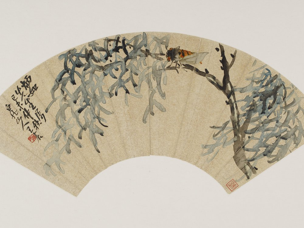 Cicada on tree branch; Wang Zhen (1867–1938); China, modern period, autumn 1919; fan mounted as album leaf; ink on gold-flecked paper (Freer Gallery of Art, Smithsonian Institution, Washington, D.C.: Gift of Robert Hatfield Ellsworth in honor of the 75th Anniversary of the Freer Gallery of Art, F1998.222.2)