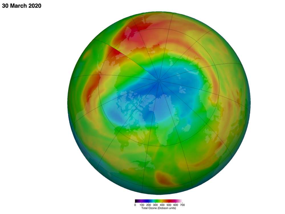 False-color model of the Northern Hemisphere shows hole in the ozone over Arctic