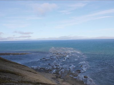 A bit of the ancient delta off the coast of Svalbard.