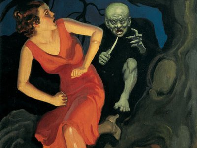 """""""Dean of Weird Menace Art"""" John Newton Howitt's """"River of Pain"""", done in 1934 for Terror Tales, is the only one of his pulp paintings known to survive. The rest were destroyed."""
