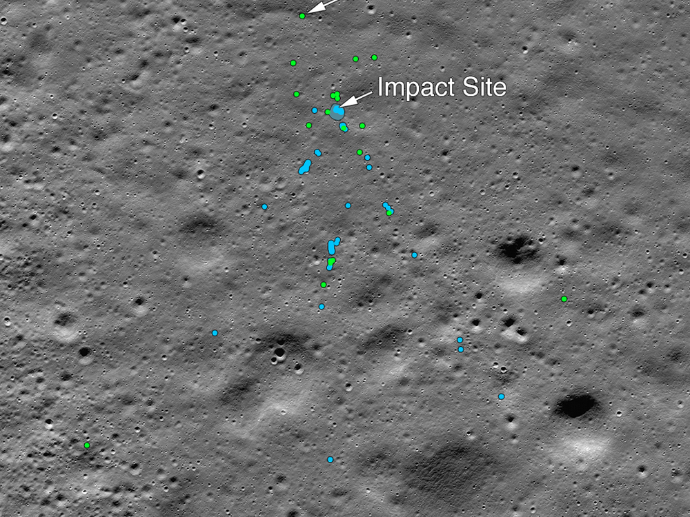 Lunar surface with impact site