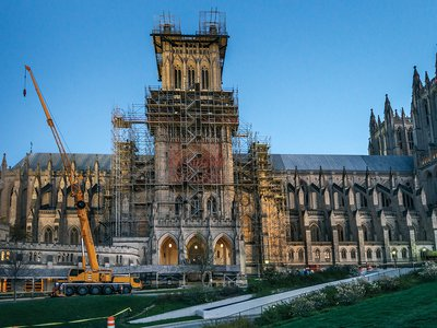 The Washington National Cathedral shrouded in scaffolding post-earthquake.
