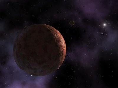 Illustration of Sedna, a minor planet with an unusual orbit.