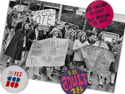 A march in support of the Vote 18 movement in Seattle in 1969 and buttons advocating for youth enfranchisement in the Smithsonian's collections.