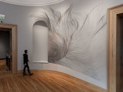 """""""Let's Get Lost"""" by linn meyers at the Bowdoin College Museum of Art"""