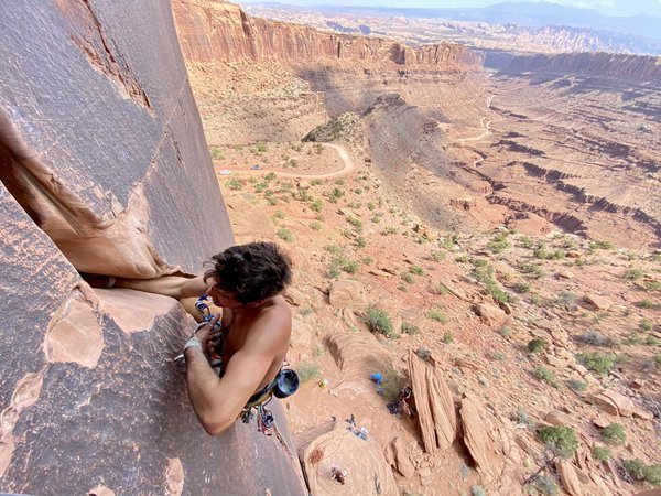 "Climber Leading ""Tequila Sunrise"" in Long Canyon, Moab thumbnail"