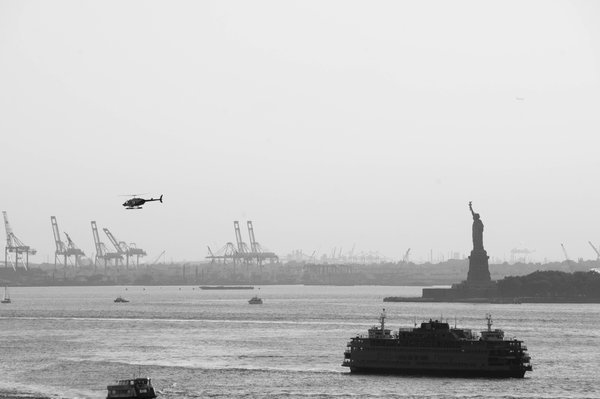 The Statue of Liberty as seen from Brooklyn Bridge thumbnail