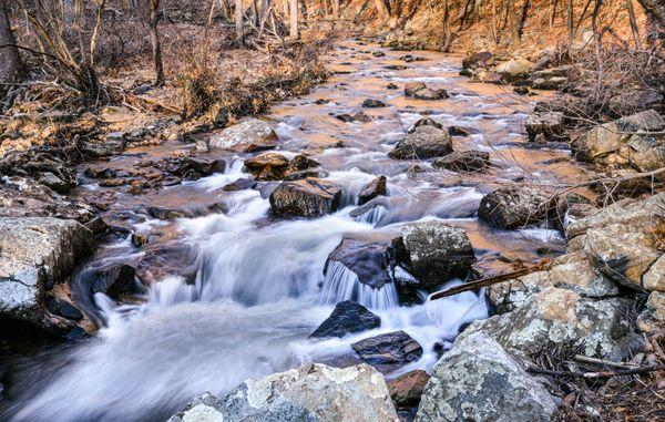 Long exposure of East Perkiomen Creek at Sunset thumbnail
