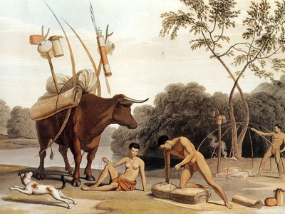 Khoikhoi of South Africa dismantling their huts, preparing to move to new pastures—aquatint by Samuel Daniell (1805). Pastoralism has a rich history in Africa, spreading from the Saharan region to East Africa and then across the continent.