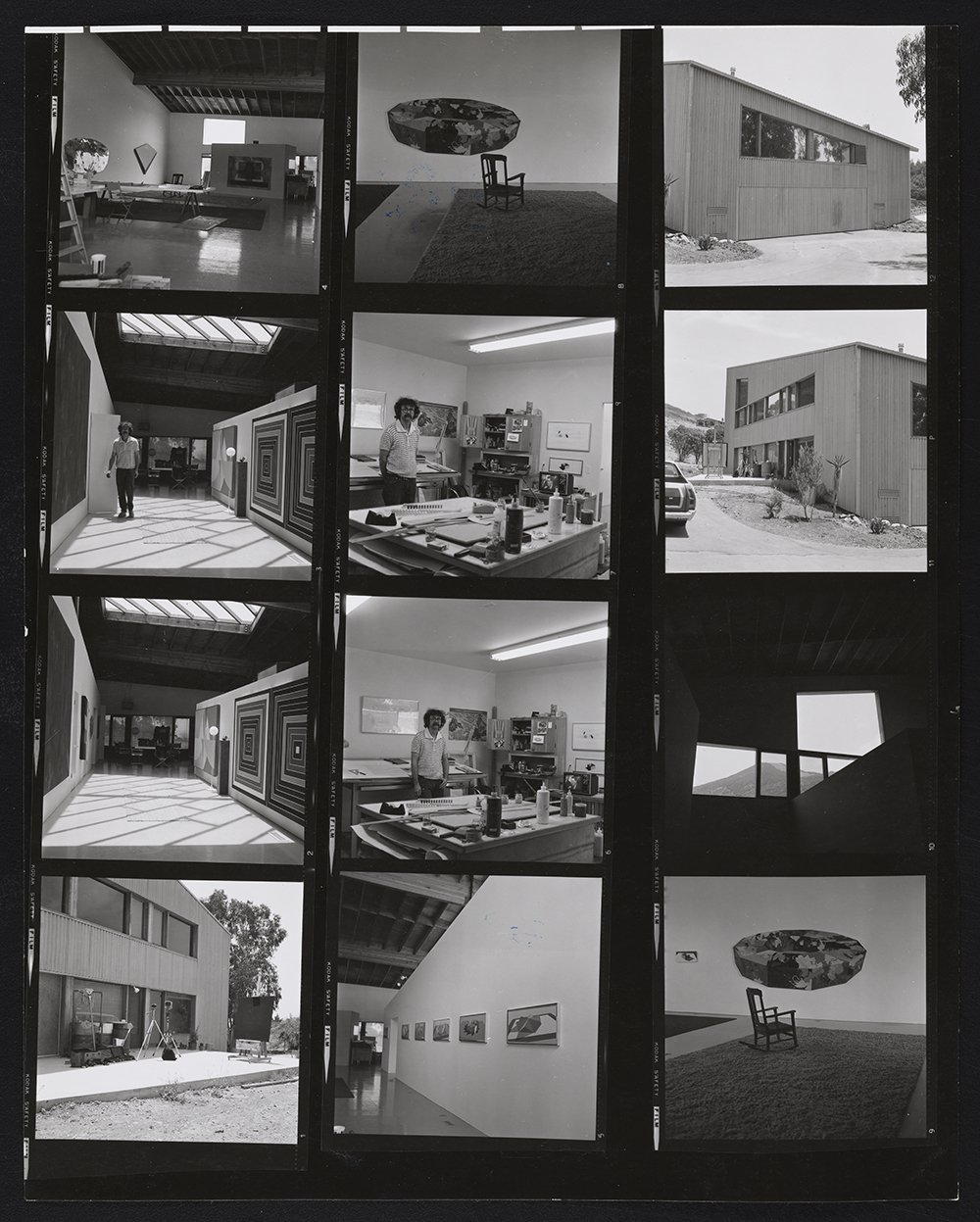 Black and white contact sheet with images of a modern home and painting studio