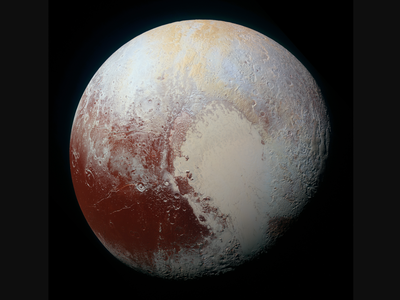 The bright red regions were thought to be caused by molecules known as tholins, or organic compounds that rain down onto the surface after cosmic rays or ultraviolet light interact with the methane in Pluto's surface and atmosphere.