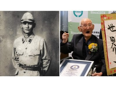 Chitetsu Watanabe as a young man (left) and at age 112 (right)